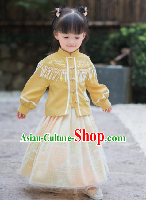 Chinese National Girls Yellow Cheongsam Costume Traditional New Year Tang Suit Qipao Dress for Kids