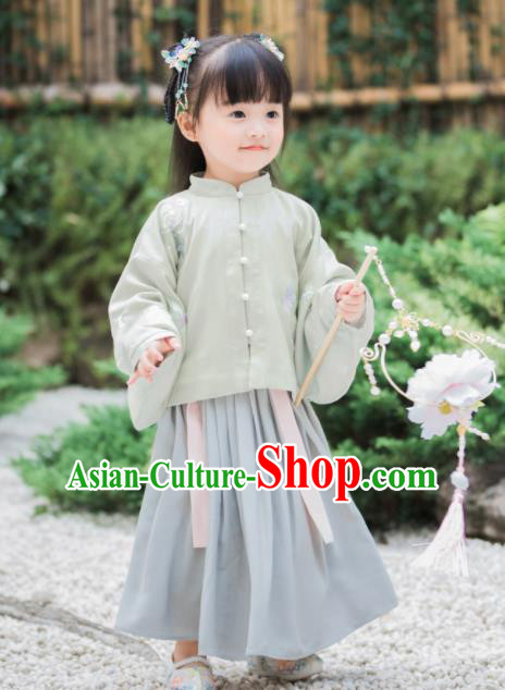 Chinese National Girls Light Green Cheongsam Blouse and Skirt Traditional New Year Tang Suit Costume for Kids