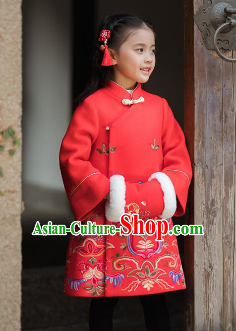Chinese National Girls Red Coat Costume Traditional New Year Tang Suit Outer Garment for Kids