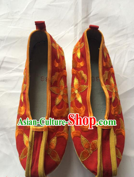 Chinese Beijing Opera Princess Red Shoes Traditional Peking Opera Diva Embroidered Shoes for Women