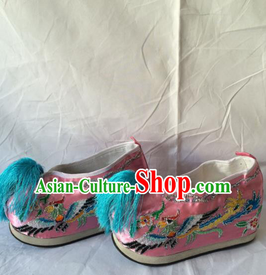 Chinese Beijing Opera Princess Pink Shoes Traditional Peking Opera Diva Embroidered Shoes for Women