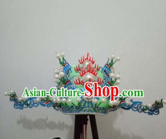 Chinese Beijing Opera Prime Minister Green Hat Traditional Peking Opera Chancellor Hair Accessories for Men