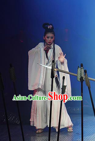 Chinese The Romantic Show of Songcheng Dance White Dress Stage Performance Costume for Women