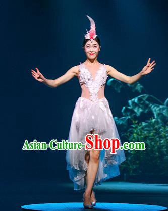 Chinese The Romantic Show of Mingyue White Dress Stage Performance Dance Costume for Women