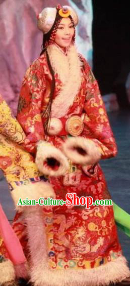 Chinese Impression Tibetan Zang Nationality Dance Red Dress Stage Performance Costume and Headpiece for Women