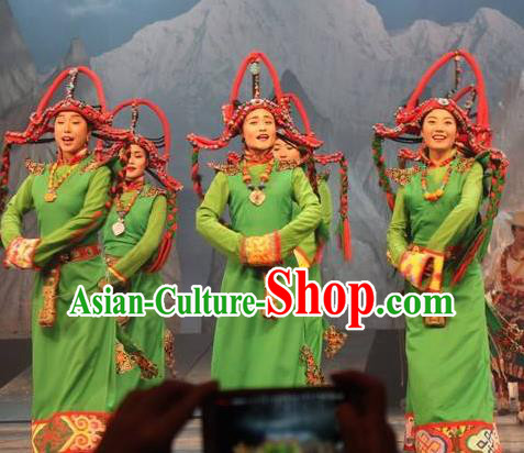 Chinese Impression Tibetan Zang Nationality Dance Green Robe Stage Performance Costume and Headpiece for Women
