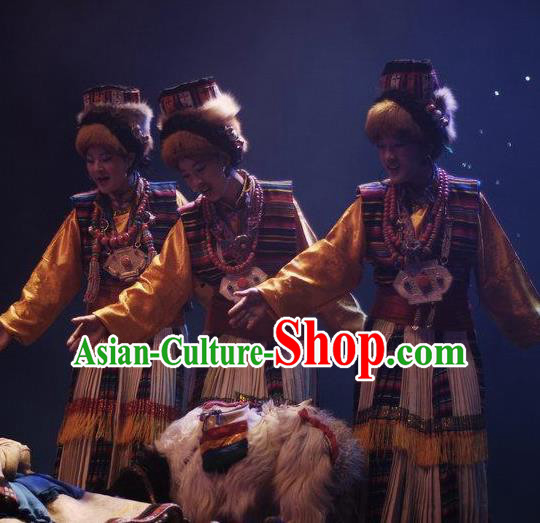 Chinese Impression Tibetan Zang Nationality Herdsman Dance Robe Stage Performance Costume and Headpiece for Women