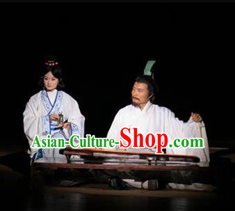 Chinese The Legend of Zhugeliang Three Kingdoms Military Counsellor Period Dance Stage Performance Costume for Men