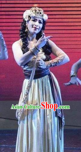 Chinese Silk Road Tajik Nationality Dance Dress Ethnic Stage Performance Costume for Women