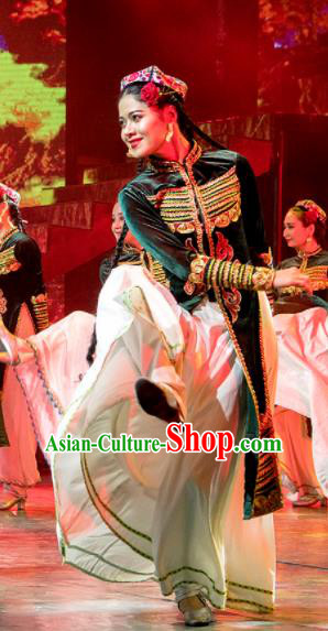 Chinese Silk Road Uyghur Nationality Dance Green Dress Ethnic Stage Performance Costume for Women