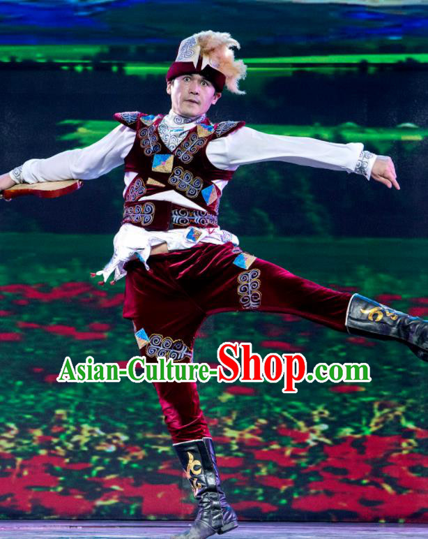 Chinese Silk Road Uyghur Nationality Dance Clothing Ethnic Stage Performance Costume for Men