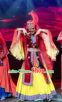Chinese Silk Road Uyghur Nationality Dance Dress Ethnic Stage Performance Costume for Women