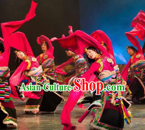 Chinese Lishui Jinsha Zang Nationality Dance Rosy Dress Ethnic Stage Performance Costume and Headpiece for Women
