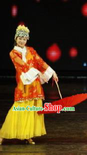 Chinese Picturesque Huizhou Opera Dance Dress Stage Performance Costume and Headpiece for Women