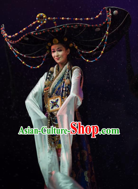 Chinese Oriental Apparel Zang Nationality Dance Dress Stage Performance Ethnic Costume and Headpiece for Women