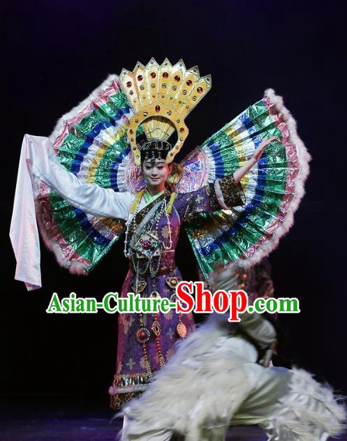 Chinese Oriental Apparel Zang Nationality Dance Purple Dress Stage Performance Ethnic Costume and Headpiece for Women