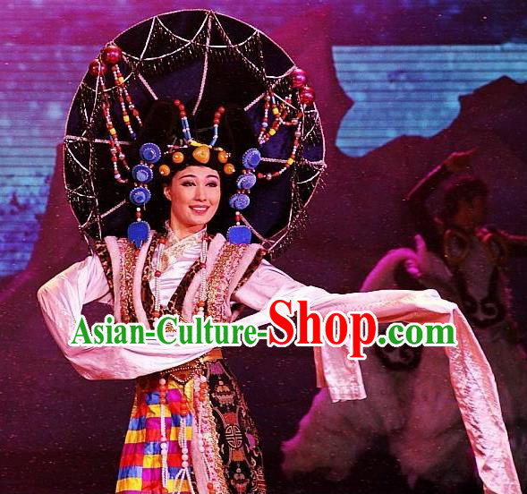 Chinese Oriental Apparel Zang Nationality Dance Dress Stage Performance Costume and Headpiece for Women