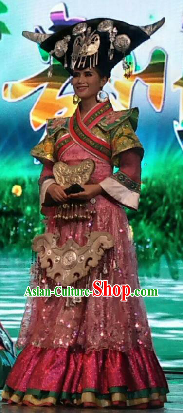 Chinese Wind Of Colorful Guizhou Miao Nationality Ethnic Dance Wedding Dress Stage Performance Costume and Headpiece for Women