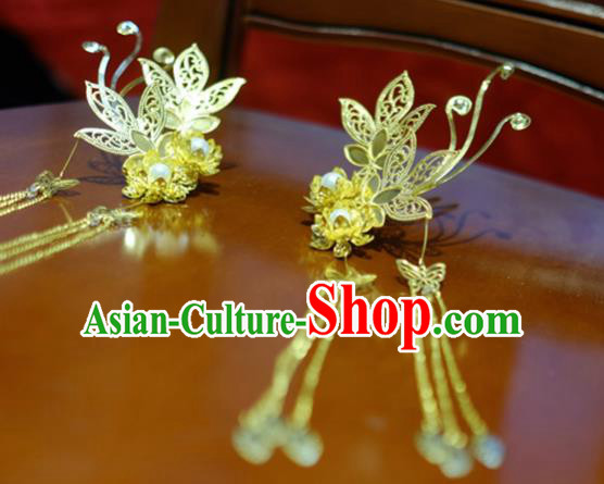 Chinese Traditional Ancient Court Queen Flowers Hairpins Classical Hanfu Hair Accessories for Women