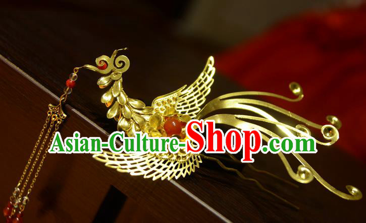 Chinese Ancient Court Queen Phoenix Hair Clip Hairpins Traditional Classical Hanfu Hair Accessories for Women