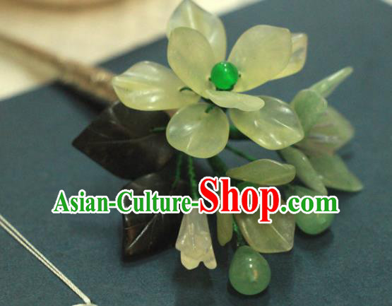Chinese Ancient Court Queen Jade Flower Hair Clip Hairpins Traditional Classical Hanfu Hair Accessories for Women