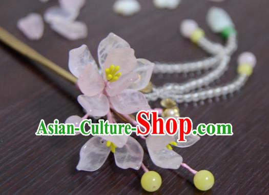 Chinese Ancient Court Queen Pink Begonia Hair Clip Hairpins Traditional Classical Hanfu Hair Accessories for Women