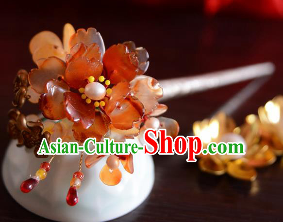 Chinese Ancient Court Queen Red Peony Hair Clip Hairpins Traditional Classical Hanfu Hair Accessories for Women