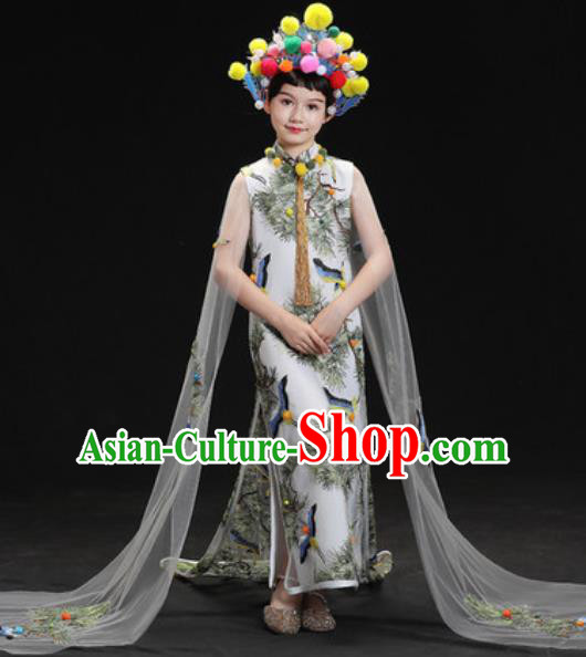 Chinese New Year Dance Performance Printing Cranes White Full Dress Kindergarten Girls Stage Show Costume for Kids