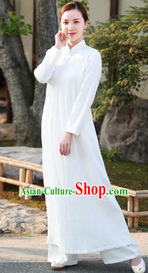 Chinese Traditional Martial Arts White Qipao Dress Tang Suit Kung Fu Tai Chi Costume for Women