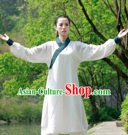 Chinese Traditional Wudang Taoist White Flax Martial Arts Outfits Kung Fu Tai Chi Costume for Women