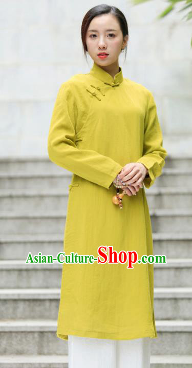 Chinese Traditional Tang Suit Yellow Green Flax Qipao Blouse Classical Overcoat Costume for Women