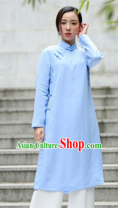 Chinese Traditional Tang Suit Blue Flax Qipao Blouse Classical Overcoat Costume for Women