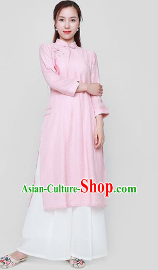 Chinese Traditional Tang Suit Pink Cheongsam Classical Qipao Dress Costume for Women