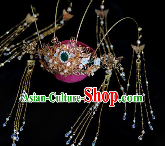 Traditional Chinese Classical Tang Dynasty Tassel Phoenix Coronet Hairpins Ancient Princess Hanfu Hair Accessories for Women