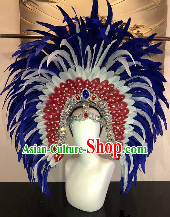 Top Halloween Rio Carnival Deluxe Royalblue Feather Hat Brazilian Samba Dance Hair Accessories for Women