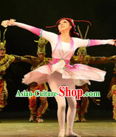 Chinese Tamrac Heaven Zang Nationality Dance Pink Dress Stage Performance Costume and Headpiece for Women