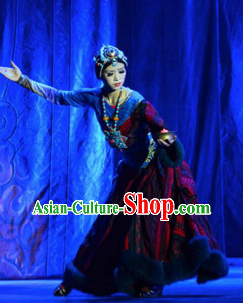 Chinese Tamrac Heaven Zang Nationality Folk Dance Dress Stage Performance Costume and Headpiece for Women