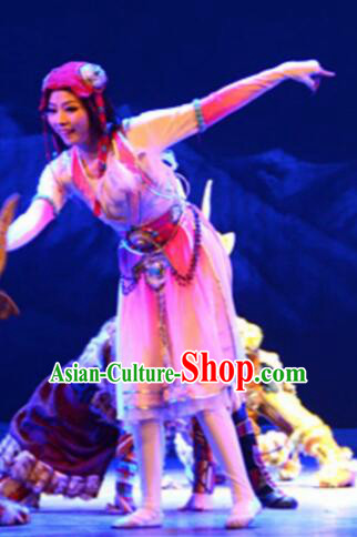 Chinese Tamrac Heaven Zang Nationality Folk Dance Pink Dress Stage Performance Costume and Headpiece for Women