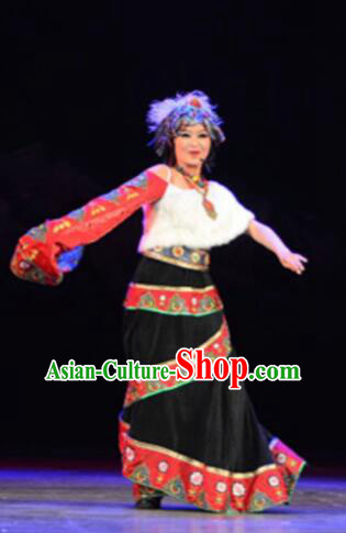 Chinese Tamrac Heaven Zang Nationality Folk Dance Black Dress Stage Performance Costume and Headpiece for Women