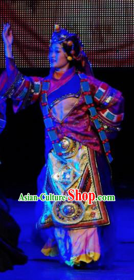 Chinese Tamrac Heaven Zang Nationality Female Dance Dress Stage Performance Costume and Headpiece for Women