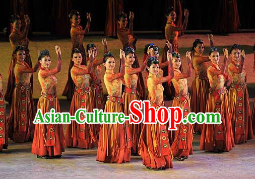 Chinese Tamrac Heaven Zang Nationality Classical Dance Dress Stage Performance Costume and Headpiece for Women