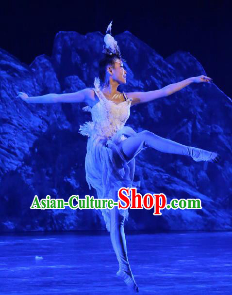Chinese Tamrac Heaven Zang Nationality Dance White Dress Stage Performance Costume and Headpiece for Women