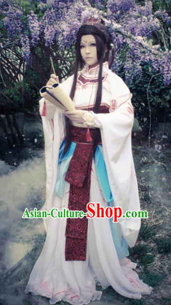 Traditional Chinese Cosplay Swordswoman Feng Jiu White Dress Ancient Royal Princess Costume for Women