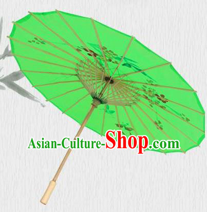 Handmade Chinese Printing Flowers Butterfly Green Silk Umbrella Traditional Classical Dance Decoration Umbrellas