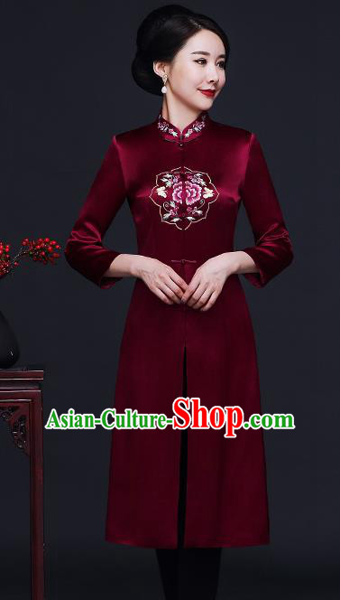 Traditional Chinese Purplish Red Silk Cheongsam Coat Mother Tang Suit Stand Collar Overcoat for Women