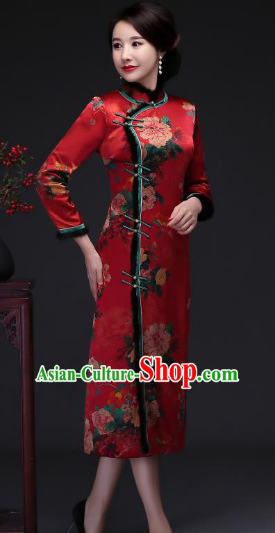Traditional Chinese Red Silk Winter Cheongsam Mother Tang Suit Qipao Dress for Women