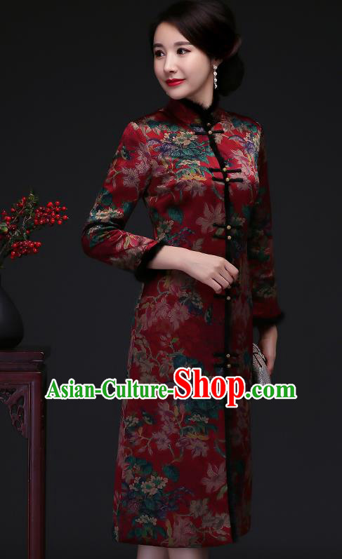 Traditional Chinese Purplish Red Silk Winter Cheongsam Mother Tang Suit Qipao Dress for Women