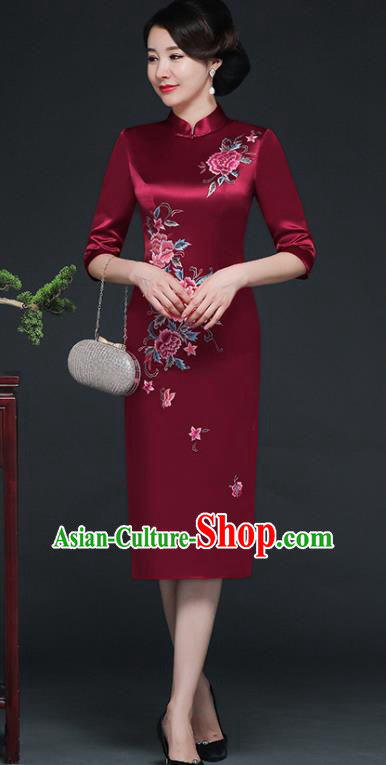 Traditional Chinese Embroidered Peony Purplish Red Silk Short Cheongsam Mother Tang Suit Qipao Dress for Women