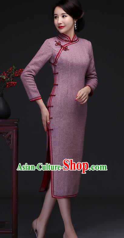 Traditional Chinese Lilac Woolen Cheongsam Mother Tang Suit Qipao Dress for Women