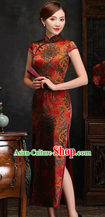 Traditional Chinese Dragon and Phoenix Pattern Silk Cheongsam Mother Tang Suit Qipao Dress for Women